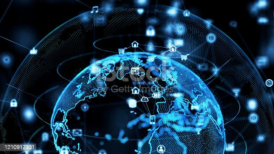 1127070103 istock photo Global communication network concept. Planet earth in cyberspace. 3D rendering. 1210917331