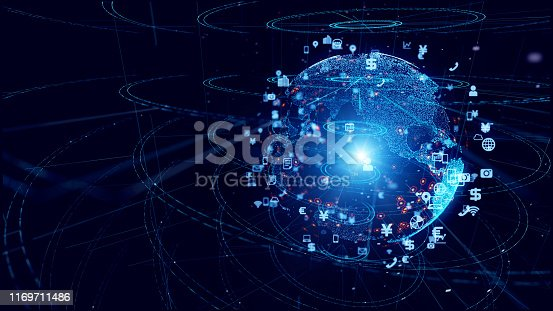 1169711469istockphoto Global communication network concept. Planet earth in cyberspace. 1169711486