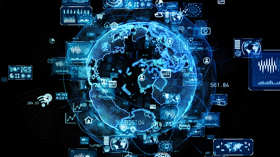 813402032 istock photo Global communication network concept. Planet earth in cyberspace. 1249307406