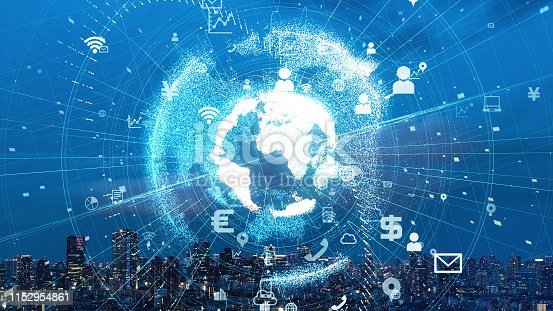 928819758 istock photo Global communication network concept. Smart city. Internet of Things. 1152954861