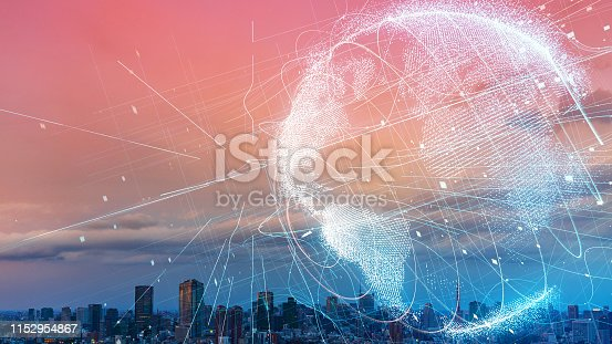 istock Global communication network concept. Smart city. Internet of Things. 1152954867