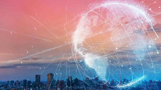 globales konzept für das kommunikationsnetzwerk. smart city. internet der dinge. - internationale geschäftswelt stock-fotos und bilder