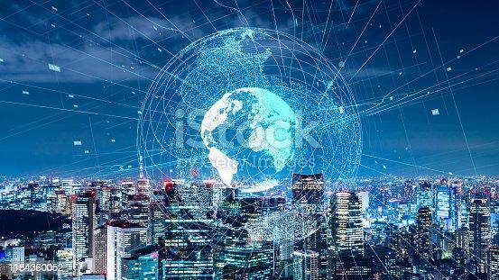 istock Global communication network concept. Smart city. 1154360052