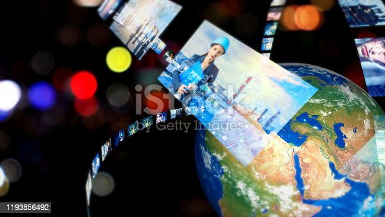 913641852 istock photo Global communication network concept. Social media. Streaming video. Subscription service. Elements of this image furnished by NASA. 3D rendering. 1193856492