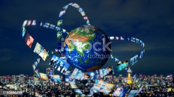 913641852 istock photo Global communication network concept. Social media. Streaming video. Subscription service. Elements of this image furnished by NASA. 3D rendering. 1193856499