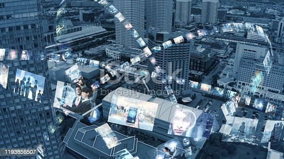 913641852 istock photo Global communication network concept. Social media. Streaming video. Subscription service. Elements of this image furnished by NASA. 3D rendering. 1193856507