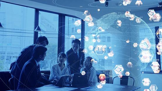 917493152 istock photo Global communication network concept. Social media. Worldwide business. 1210343324