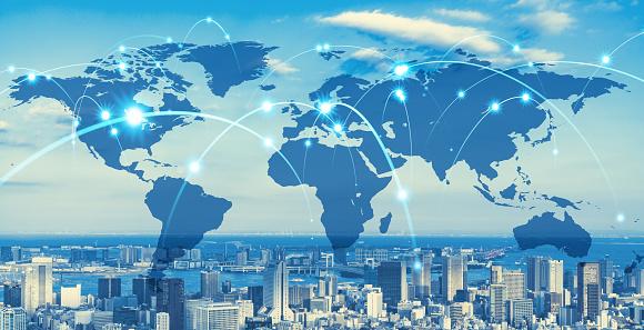 Global communication network concept. Social media. Worldwide business.