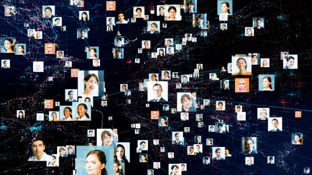 Global communication network concept. Various ethnic group people. stock photo