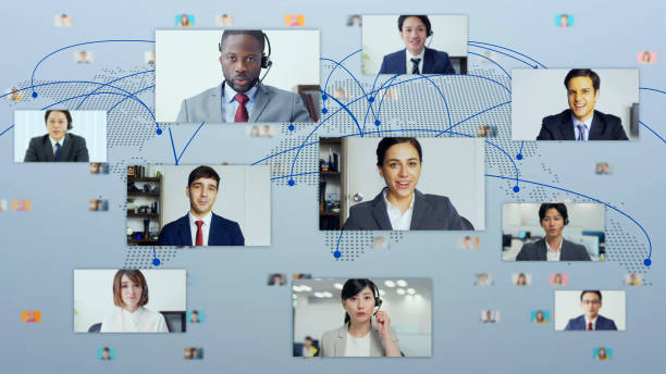 Global communication network concept. Video conference. Telemeeting. Flash news. stock photo