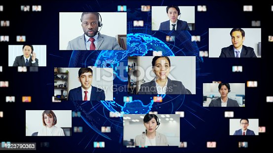Global communication network concept. Video conference. Telemeeting. Flash news.