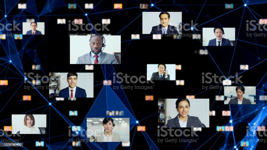 Global communication network concept. Video conference. Telemeeting. Flash news. - Royalty-free Adult Stock Photo