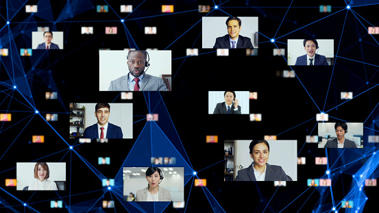 Global Communication Network Concept Video Conference Telemeeting Flash News Stock Photo - Download Image Now