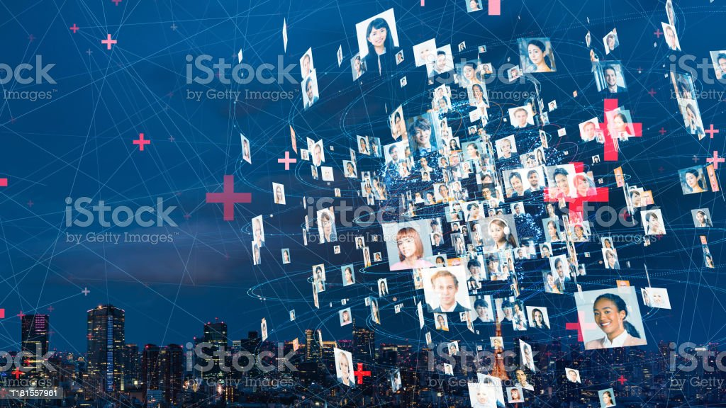 Global communication network concept. Worldwide business. Diversity. - Royalty-free Asian and Indian Ethnicities Stock Photo