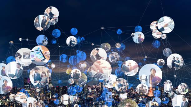 koncepcja globalnej sieci komunikacyjnej. biznes na całym świecie. różnorodności. - sieć komputerowa zdjęcia i obrazy z banku zdjęć
