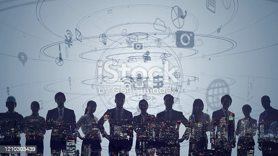 istock Global communication network concept. Worldwide business. Human resources. 1210303439