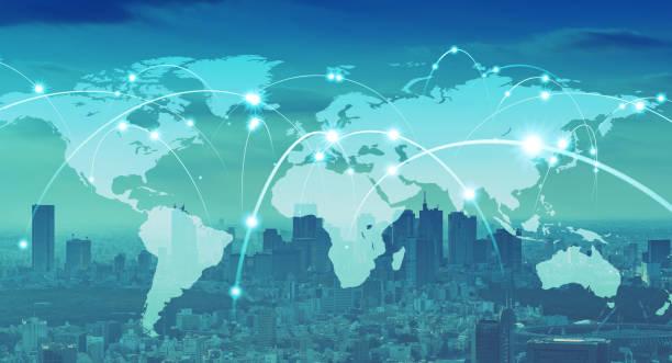 globales kommunikationsnetzwerkkonzept. weltweites geschäft. - internationale geschäftswelt stock-fotos und bilder