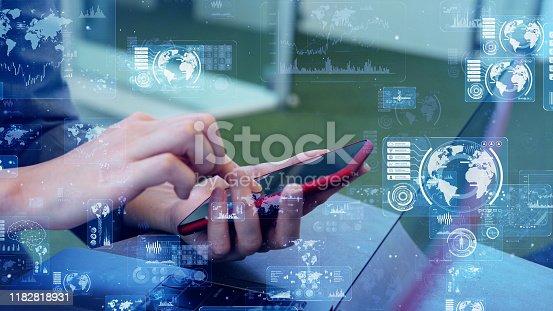 875512438 istock photo Global communication network concept. Worldwide business. 1182818931