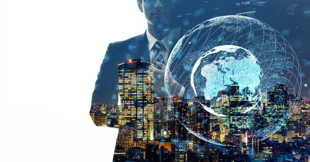 グローバル通信ネットワークの概念。世界的なビジネス。 - 地球 日本 ストックフォトと画像