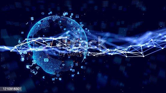 1127070103 istock photo Global communication network concept. Worldwide business. 1210918301