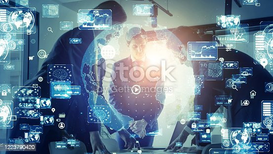 1079974636 istock photo Global communication network concept. Worldwide business. 1223790420