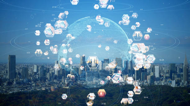 グローバル通信ネットワークの概念。世界的なビジネス。持続可能な開発目標。sdgs。 - sustainability ストックフォトと画像