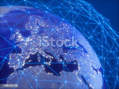 878855462istockphoto Global Communication Network Concepts.  Triangle Shapes Lines And Dots Forming A Plexus Background 1166423126