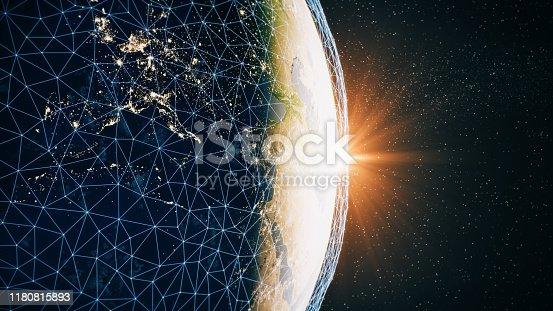 878855462istockphoto Global Communication Network (World Map Credits To NASA) 1180815893