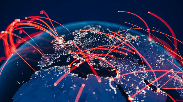 global communication network (world map credits to nasa) - internationale geschäftswelt stock-fotos und bilder