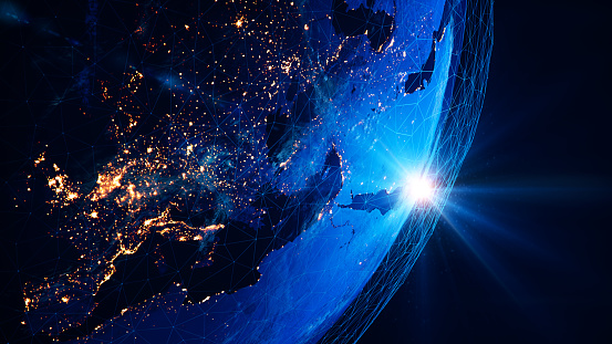 Earth view from space at night with lights and connections from cities. (World Map Courtesy of NASA: https://visibleearth.nasa.gov/view.php?id=55167)