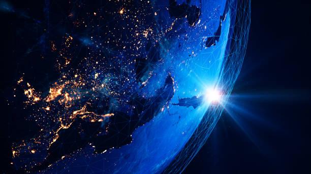 Global Communication Network (World Map Credits To Nasa) stock photo
