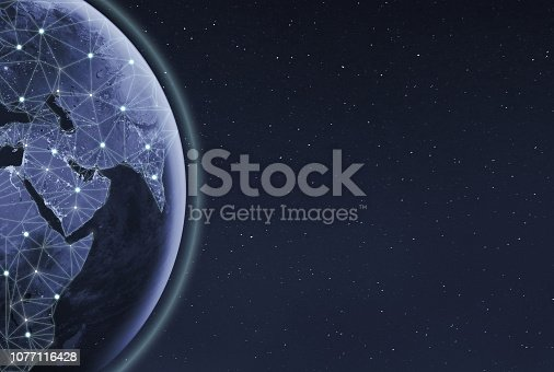 878855462istockphoto Global communication technology and telecommunication financial network around planet Earth. Blockchain and cryptocurrency concept with copyspace. Elements of this photo furnished by NASA. 1077116428