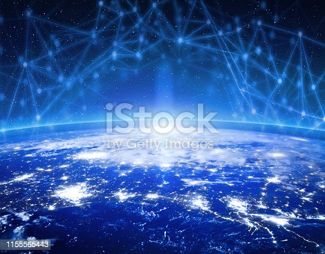 878855462istockphoto Global communication technology and telecommunication financial network around planet Earth. Blockchain and cryptocurrency concept with copyspace. IOT. Elements of this photo furnished by NASA. 1155565443