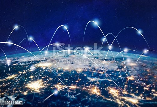 Global communication technology and telecommunication financial network around planet Earth. Blockchain and cryptocurrency concept with copyspace. IOT and 5G concepts. Elements of this photo furnished by NASA
