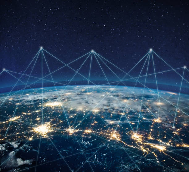 Global communication technology and telecommunication financial network around planet Earth. Blockchain and cryptocurrency concept with copyspace. IOT. Elements of this photo furnished by NASA. stock photo