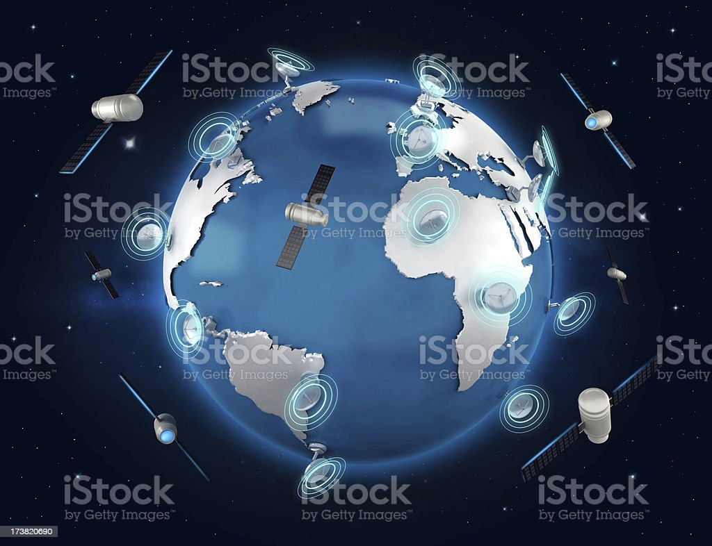 Global communications concept with satellites stock photo