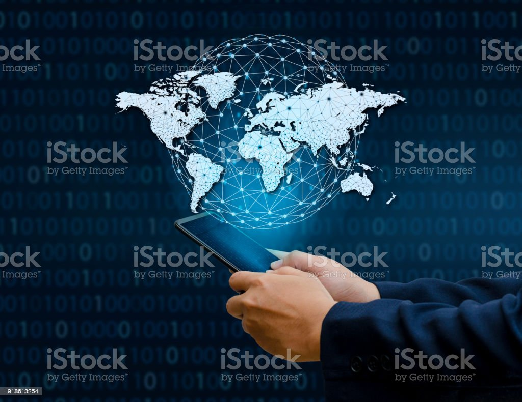 Global Communications Map Binary Smart Phones and Globe Connections Uncommon communication world Internet Businesspeople press the phone to communicate in the Internet. Space put message Blue tone stock photo