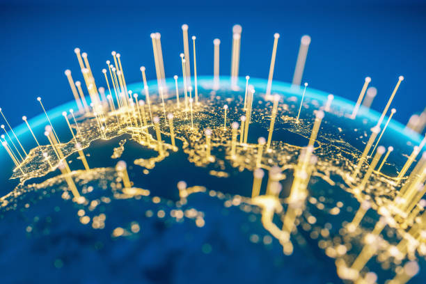 global communications (world map courtesy of nasa) - internationale geschäftswelt stock-fotos und bilder