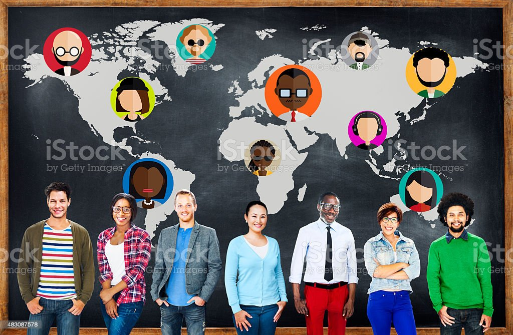 Global Community World People Social Networking Connection Conce stock photo