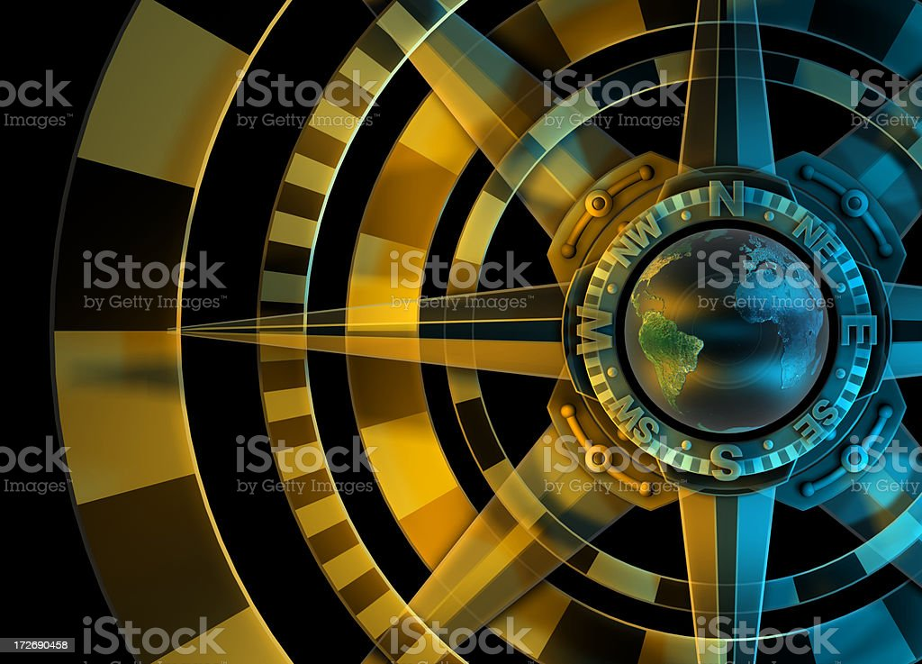 Global Compass Rose, Cardinal points, GPS, Survey, Orienteering stock photo