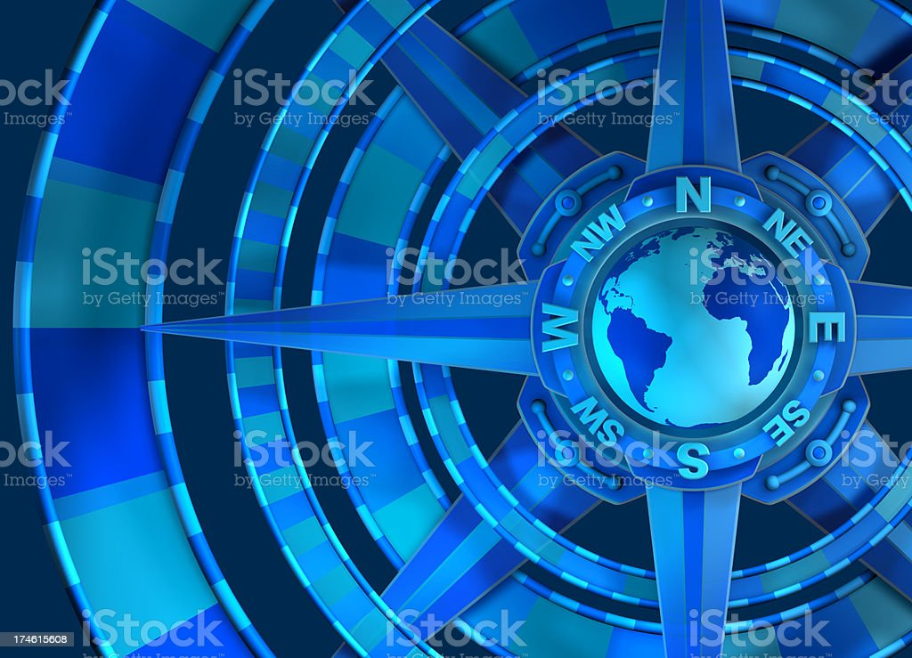Global Compass Rose, Cardinal points, GPS, Survey, Orienteering royalty-free stock photo