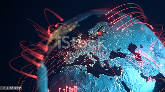 High quality 3D rendered image, perfectly usable for topics related to big data, global networks, international flight routes or the spread of a pandemic / computer virus. Textures courtesy of NASA: https://visibleearth.nasa.gov/images/55167/earths-city-lights, https://visibleearth.nasa.gov/images/73934/topography