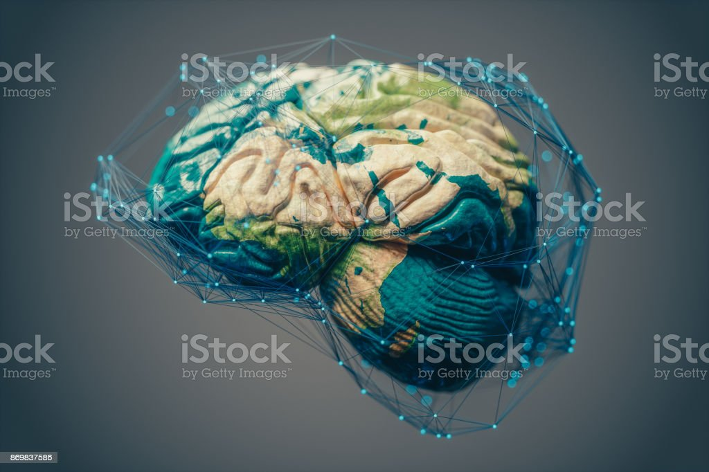 Global Connections, Artificial Intelligence And Cloud Computing stock photo