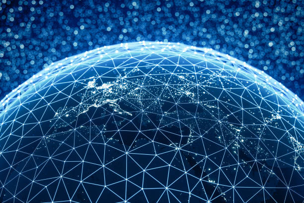 Global Connections (World Map Credits To NASA) stock photo