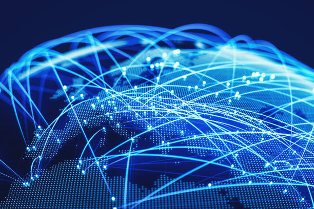 World map connected stock photos