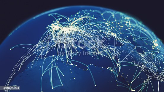 Cities connected with lines on a blue globe.