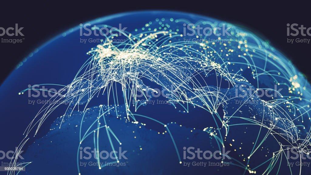 Conexiones globales (créditos textura mapa mundial a la NASA) - foto de stock