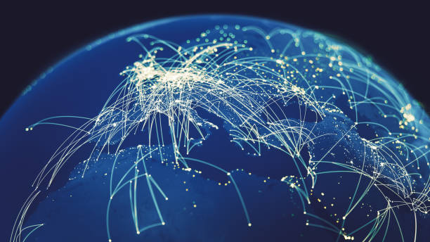 global connections (world map texture credits to nasa) - computer network stock photos and pictures