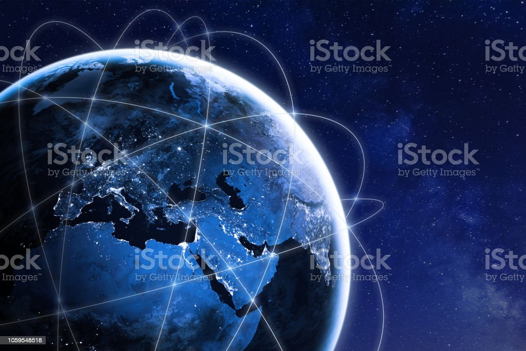 Global connectivity concept with worldwide communication network connection lines around planet Earth viewed from space, satellite orbit, city lights in Europe, some elements from NASA royalty-free stock photo