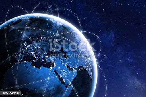 Global connectivity concept with worldwide communication network connection lines around planet Earth viewed from space, satellite orbit, city lights in Europe, some elements from NASA (https://eoimages.gsfc.nasa.gov/images/imagerecords/90000/90008/europe_vir_2016_lrg.png)